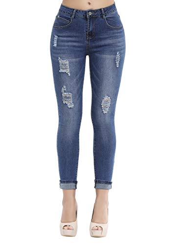 Women's Casual Ripped Holes Skinny Jeans Jeggings Straight Fit Denim Pants (US 10, Blue 19) (Best Rated Skinny Jeans)
