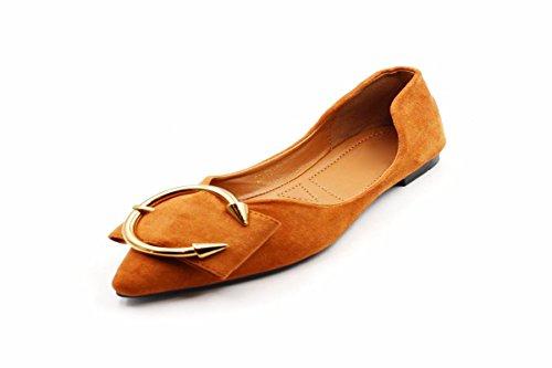 Zapatos Plana Mujer Anillo Superficial de Suede Confortable Inferior Mujer Suela Y KPHY Suave Seis Pretty De De Primavera De De Treinta Zapatos Vacio Lado Zapatos Punta Antideslizante La Brown Metal qUEHwB0