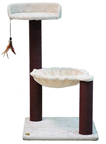 Catry, Cat Tree Hammock Bed with Natural Sisal Scratching Posts and Teasing Feather for Kitten (Version 2)