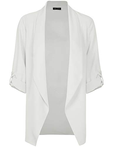 Michel Womens Open Front Blazer Casual 3/4 Roll UP Sleeve Cardigan Blazer Offwhite Small