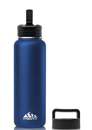 Hydrapeak Stainless Steel Vacuum Insulated Water Bottle with Bite Straw Lid - BPA-Free Leak-Proof Wide Mouth Thermos Flask + Extra Handle Lid (40oz Bite Straw, Cobalt) (Hydra Thermos)