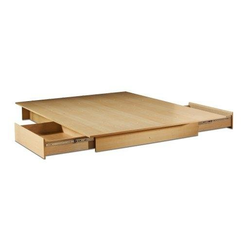 Full/Queen Size Maple Platform Bed Frame with Storage Drawers
