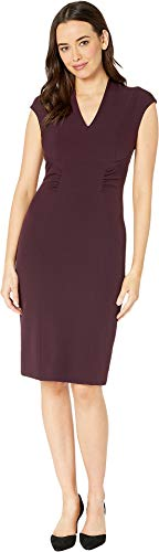 Tahari by ASL Women's Cap Sleeve Stretch Crepe Sheath Dress with Side Ruching Aubergine 6 ()