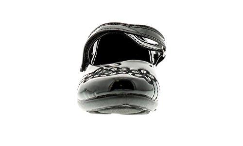 New Girls Kunstleder schwarz Schul Schuhe mit Klettverschluss - schwarz Lack - UK Größen 6-12