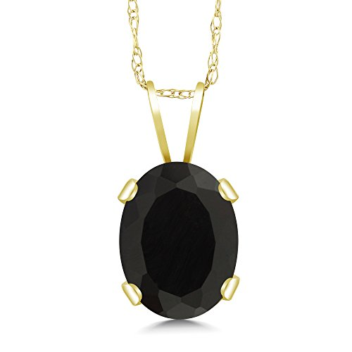 1.09 Ct Oval Black Onyx 14K Yellow Gold Pendant