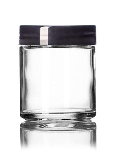 Premium Vials 4OzAMGLAJarW-6-ZT Clear 4 Oz Glass Jar Black Lid (Pack of 6)