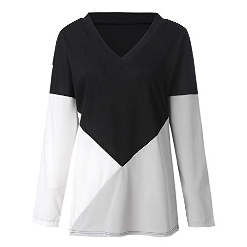 Metallic Racer Back Bra - 2019 New Women's Pullover Blouse, VECDUO Casual V-Neck Long Sleeve Patchwork Color Block Loose Tee Top