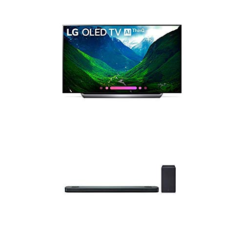 LG Electronics OLED77C8PUA 77-Inch 4K Ultra HD Smart OLED TV (2018 Model) Bundle with LG SK9Y 5.1.2 ch High Res Audio Sound Bar with Dolby Atmos (2018)