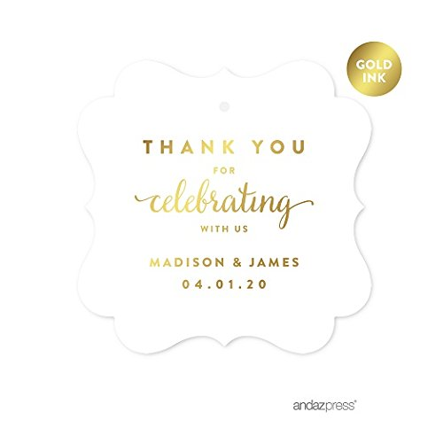 Andaz Press Personalized Fancy Frame Square Wedding Gift Tags, Metallic Gold Ink, Thank You for Celebrating With Us, 24-Pack, Custom Made Any Name, Gold Stationery
