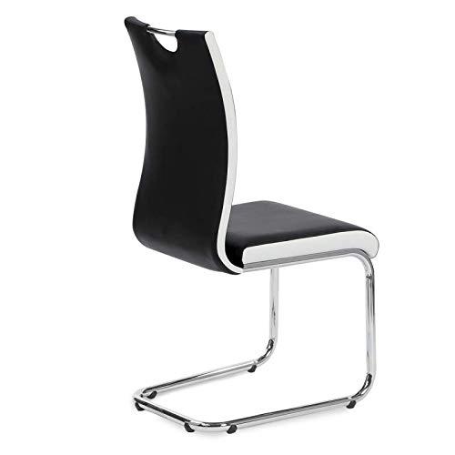 Lot de 4 chaises PIA Noires et Blanches pour Salle /à Manger IDMarket