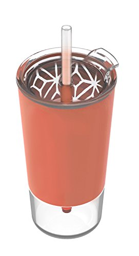 Ello Tidal Glass Tumbler with Straw, Coral, 20 oz