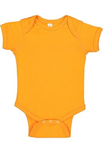 Rabbit Skins Infant 100% Cotton Baby Rib Lap Shoulder Short Sleeve Bodysuit (Mandarin, 12 - Girl Baby Moon Rabbit