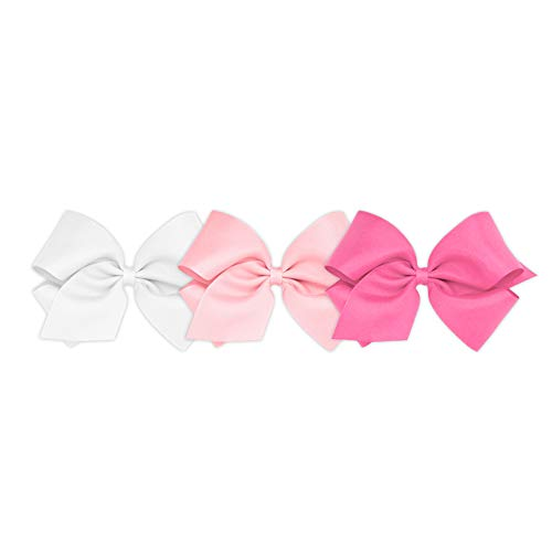 Wee Ones Girls' King Bow 3 pc Set Solid Grosgrain Variety Pack on a WeeStay Clip - White, Light Pink and Hot Pink (White Clip Solid)