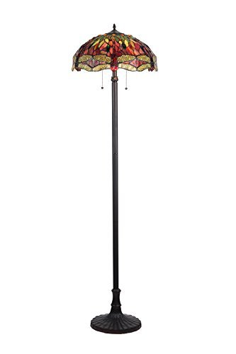 Chloe Lighting CH33471RD18-FL2 Empress Tiffany-Style Dragonfly 2-Light Floor Lamp with Shade, 65.1 x 18.1 x 18.1