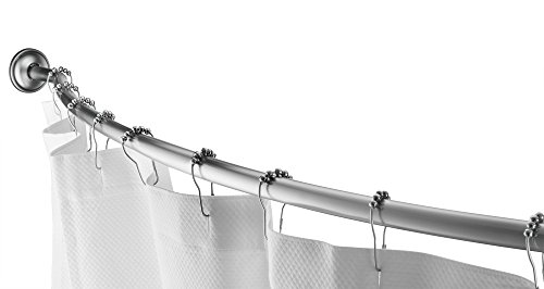"""Home Basics Wall Mounted Curved Shower Rod Extendable/Adjustable 42"""" To 72"""" Length for Customized Fit , Non Rust, Hardware Included, Adds Up To 5 Inches of Shower Space Satin Nickel"""