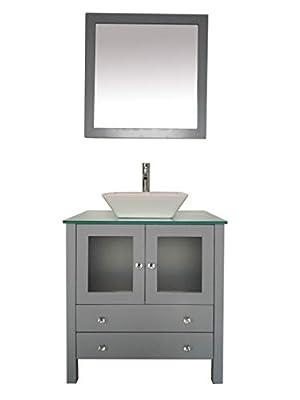 """30"""" Freestanding Wooden Modern Bathroom Vanity Ceramic Sink Vessel Set Bathroom Mirror Included (Grey)"""