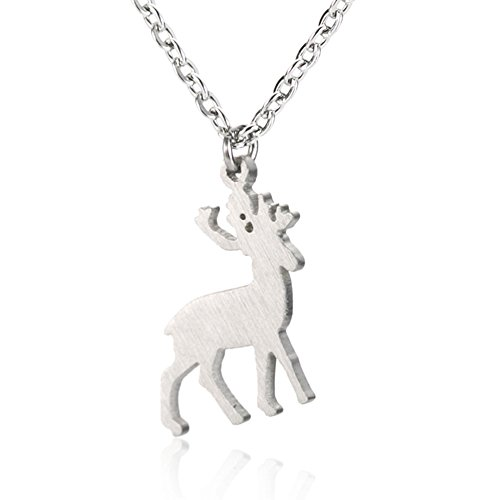 Little Elk Deer Pendant Necklace - Stainless Steel Charm for Girls 16