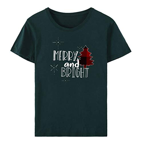 Be Merry Funny Letter Print Christmas T-Shirt - Women Casual Plaid Trees Short Sleeve Raglan Baseball Blouse Tees Top