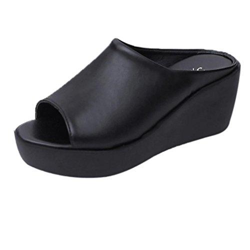 Hatop Pantoufle, Femmes Été Loisirs Poisson Bouche Sandales Fond Épais Pantoufles Noir