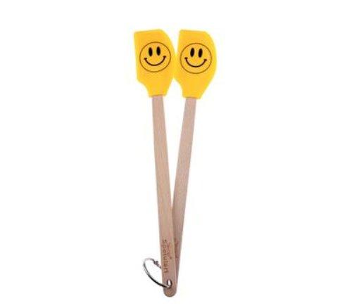 - Tovolo 80-6252 Set Spatulart Smiley Face Mini Spatulas, Heat Resistant, Dishwasher Safe-Set of 2, Yellow