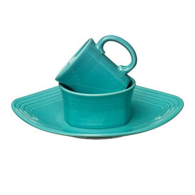 3 Piece Place Setting Color: Turquoise (Square Fiesta Dishes)