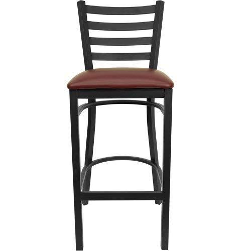 Flash Furniture HERCULES Series Black Ladder Back Metal Restaurant Barstool - Burgundy Vinyl Seat -