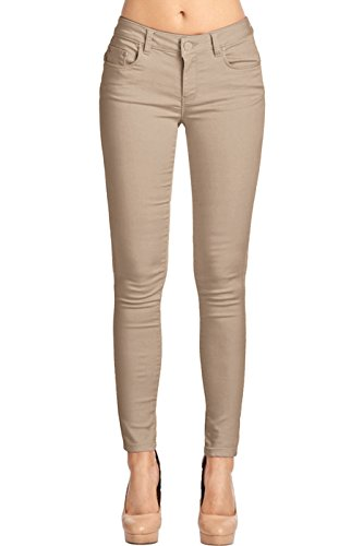 2LUV Women's Stretchy 5 Pocket Skinny Color Uniform Pants, Khaki1, 7