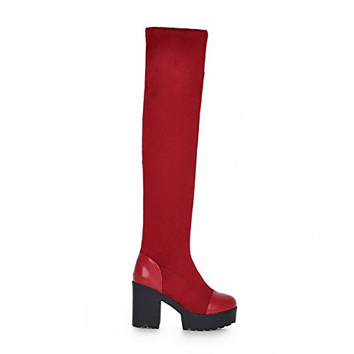 Imitated Toe Boots Platform Red Leather Ladies Chunky Round Heels AdeeSu nHwYxfq66