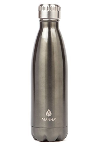 Manna Vogue Metallic Stainless Steel Double Walled Vacuum Insulated 17 Ounce Water Bottle | No Sweat | No BPA | Keeps Drinks Hot 12 Hours and Cold 24 Hours - Charcoal