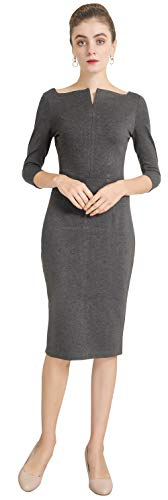 Marycrafts Women's Work Office Business Square Neck Sheath Midi Dress 0 Charcoal