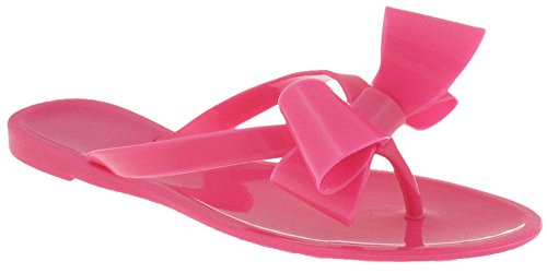 Capelli New York Ladies Fashion Flip Flop Jelly Thong With A Bow Pink 9 (Pink Flip Flops Sandals)