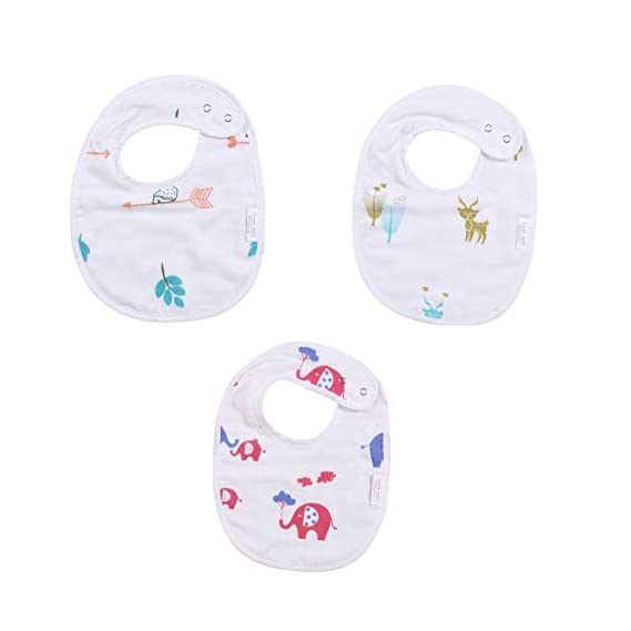 Polka Tots 100% Organic Muslin Cotton Bibs with Three Layers (Mix Design) (Pack of 3)