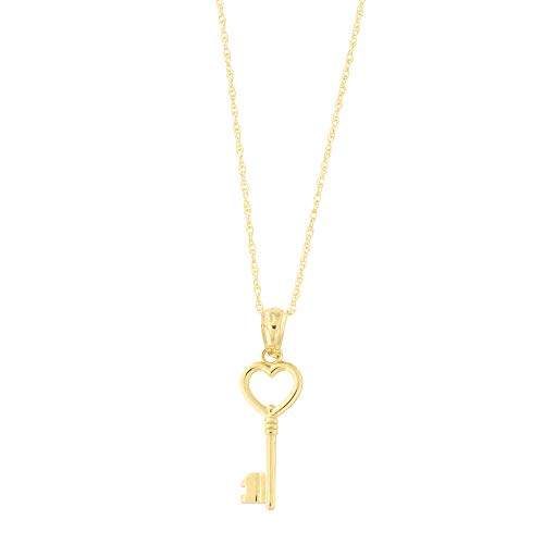 Beauniq 14k Yellow Gold Heart Vintage Key Pendant Necklace, 16