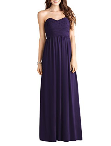 Dress Bridesmaid Party Bridal Purple Prom Long Chiffon Evening Sweetheart Amore Gown 4nqYX1FwX