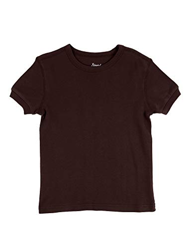 Leveret Short Sleeve Top Boys Girls Kids T-Shirt 100% Cotton (Brown,Size 5 Years) ()