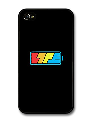 Cool Battery Life Logo in a Black and Blue Style case for iPhone 4 4S