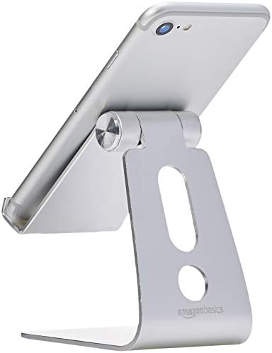 AmazonBasics Adjustable Aluminum Cell Phone Desk Stand for iPhone and Android, Silver 31X0DBsSxQL