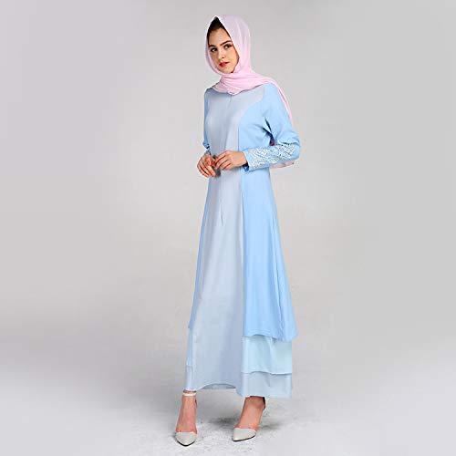 KIKOY Women's Muslim Summer Print Trumpet Sleeve Embroidery Elegant Swing Dress Blue by Kikoy muslim womens dress (Image #3)