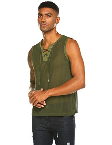 COOFANDY Mens Sexy Underwear T-shirt Sleeveless Mesh Sheer Undershirt Sleepwear Olive Green S