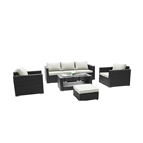 31X0DkxilDL - JYCBES 7-Piece Outdoor Patio Wicker Furniture Conversation Set(Black)