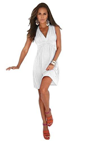 Charm Your Prince Women's Sleeveless Summer White Sundress S