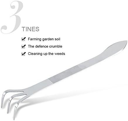 Zerodis 24CM Bonsai Outils Râteau/Spatule Combo 3-Prong en Acier Inoxydable Racine Kit Râteau Jardinage Cultivateur Outils d'Agriculture du Sol avec Poignée Ergonomique