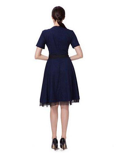 PU&PU Robe Aux femmes Ample Simple,Couleur Pleine Col Arrondi Mi-long Polyester , gray-xl , gray-xl