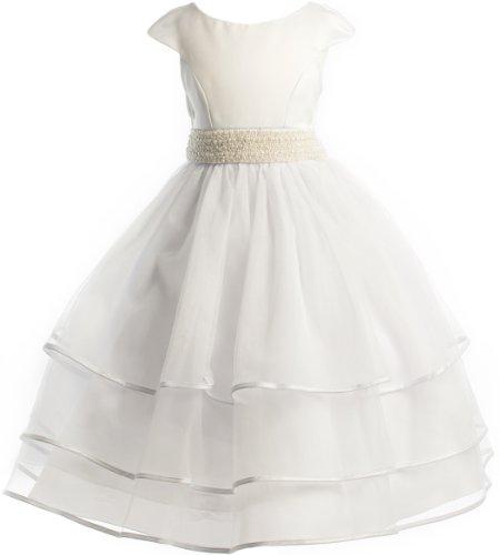 Beaded Waist Layered Organza Holiday Communion Flower Girl Long Dress-White 20