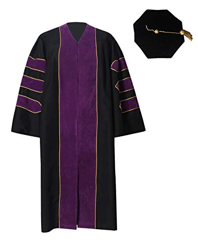 (GraduationForYou Deluxe Doctoral Gown and 8-Sided Tam Set Purple)