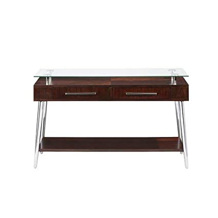 Amazoncom Wood Console Table With Glass Top And Metal Legs