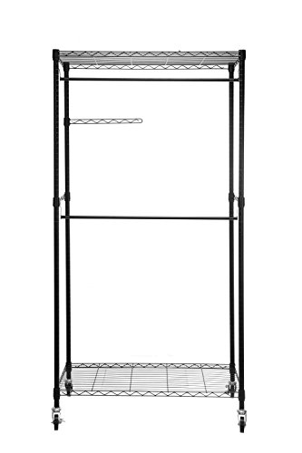 HollyHOME Heavy Duty Rolling Garment Rack Closet Organizer with Wheels, Clothes Hangers with Double Rods and Shelves, Black Thicken Steel Tube
