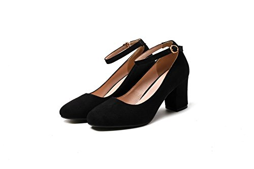 Shoes Toe Buckle Heels Solid AmoonyFashion Pumps Black Womens Square Frosted Kitten qXXTwfz