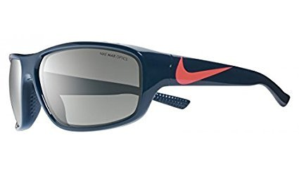Nike Golf Mercurial Sunglasses, Squadron Blue/Hot Lava Frame, Grey with Silver Flash Lens by Nike Golf (Image #1)