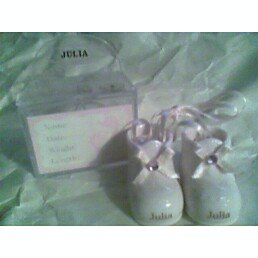 - Personalized Porcelain Baby Girl Booties - BRITTANY
